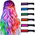 Hair Chalk for Girls Kids Temporary Bright Hair Color,Hair Chalk Comb Washable Non-Toxic Hair Dye Halloween Christmas Birthday Parties Girls Gift for 1 2 3 4 5 6 7 8 9 10 Year Old Girl (6 Colors)