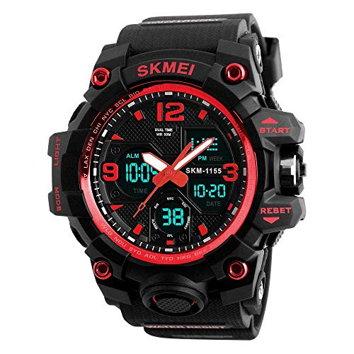 Mens Sports Digital Watch - 5 Bars Waterproof Digital Watches with Alarm/Timer/Sig, Black Large Face Outdoor Sport Led Wrist Watch for Men Many Occasions, The Best Gift, XA@SSB, Red