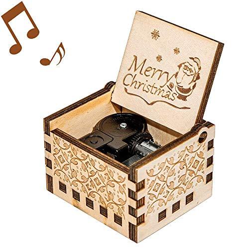 Mr.Winder Merry Christmas Spieluhr, Holz, lasergraviert, Weihnachtsmann Geschenke für Geburtstag, Weihnachten, Valentinstag