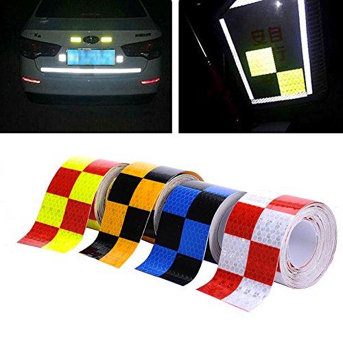 4 Farben 5cmx4m Reflektorband Sicherheitsband Warnklebeband Reflexionsfolie Reflexstreifen selbstklebend reflektierend für Fahrrad, Joggen, Auto Pkw / LKW (Yellow)