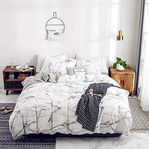 Wonder Juego de Funda nórdica, Conjunto de Ropa de Cama de algodón 100% Conjunto de Ropa de Cama Suave y cómoda de edredón de Roca (Blanco, 210 * 210cm)