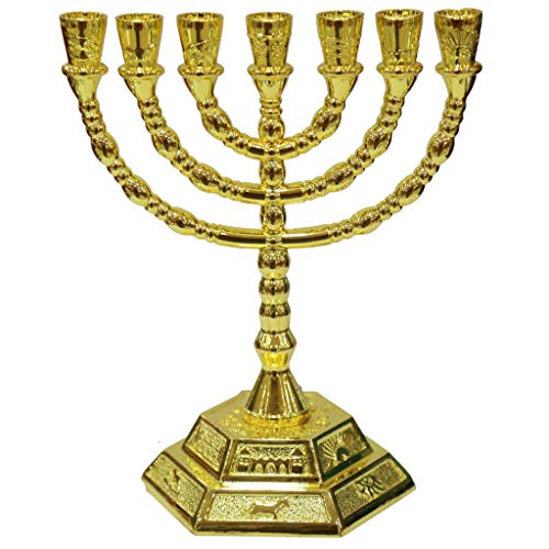12 Tribes of Israel Jerusalem Temple Menorah choose from 3 Sizes Gold or Silver (Gold, 8 Inches)