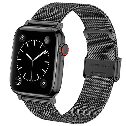 Vecann Correa para Apple Watch 38mm 42mm 41mm 40mm 44mm 45mm, correa de repuesto ajustable, delgada y estrecha, de acero inoxidable, hebilla de metal, compatible con iWatch Series 7 6 5 4 3 2 1 SE