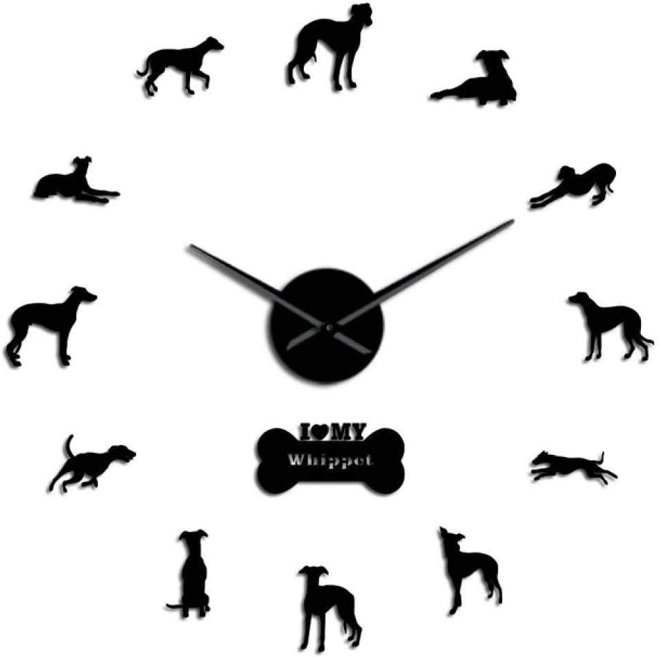 Yxxc Reloj de Pared Retrato de Perro de Gran tamaño Acrílico 3D Reloj de Pared de Bricolaje Galgo Italiano Canino Animal Efecto de Espejo Pegatinas de Pared Reloj Reloj, Plata, 47 pulga