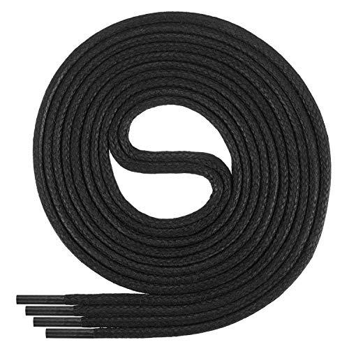 Di Ficchiano-SW-03-black-60 gewachste runde Schnürsenkel, Schuband, Laces, Durchmesser 2-4 mm für Businessschuhe, Anzugschuhe und Lederschuhe