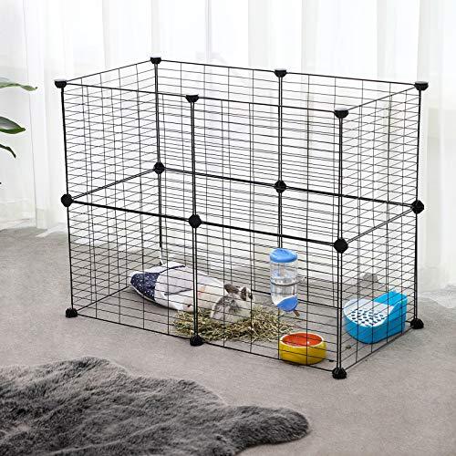 SONGMICS Verstellbares Laufgitter für Kleintiere und Meerschweinchen inkl Gummihammer Gittergehege für Innen individuell zusammenbaubar 143 x 73 x 36 cm (B x H x T) schwarz LPI01H - 4