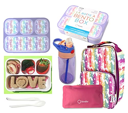 Bento Box Lunch Bag Water Bottle and Ice Pack Set for Girls,...