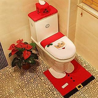 TOYANDONA Natale Babbo Natale Coprisedile E Tappeto Coprivaso Set da Bagno Copri Scatola Fazzoletti per Decorazioni Natalizie Arredo Bagno Casa