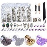 Nail Art Set Kit de decoración de Bricolaje Diseño de Pintura Kit de acrílico para uñas Art Nail Salon Tools Accesorios con Pinzas, Polvo de Purpurina, Palo de Maquillaje de Diamantes de imitació