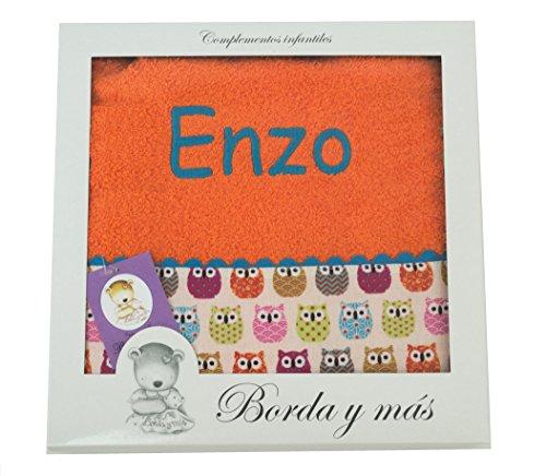 Toalla de ducha para bebé BORDADA CON EL NOMBRE, Modelo Búhos. Varios colores disponibles (Naranja)