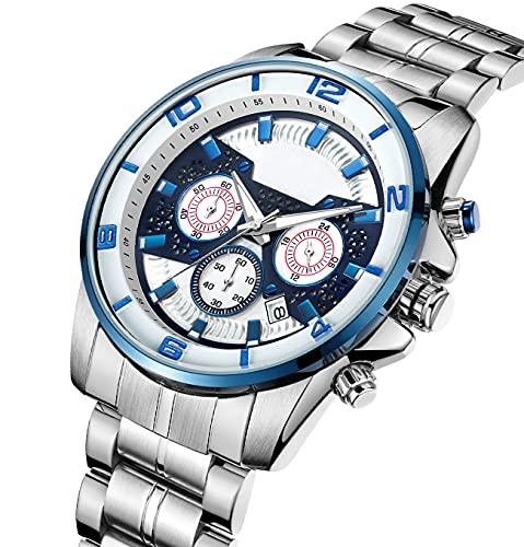Relojes De Cuarzo Multifuncionales con Correa De Acero Inoxidable Fashion Fashion Business Chronograph Reloj De Pulsera para Hombres Estilo Deportivo