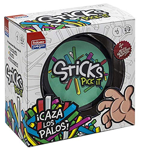 Falomir- Sticks Pick It. Juego de Mesa para favorecer la concentración y Trabajar la psicomotricidad. Cartas. (30006)