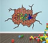 Graffiti - Adhesivo decorativo para pared, diseño de ladrillo agrietado personalizado con nombre, mural impreso para niños., vinilo, Large 59cm x 85cm