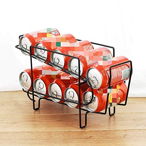 Zhouzl Hogar & Jardín Latas de Cerveza del balanceo de Almacenamiento en Rack Rack de Coca-Cola Doble del Estante del refrigerador Hogar & Jardín (Color : Black)