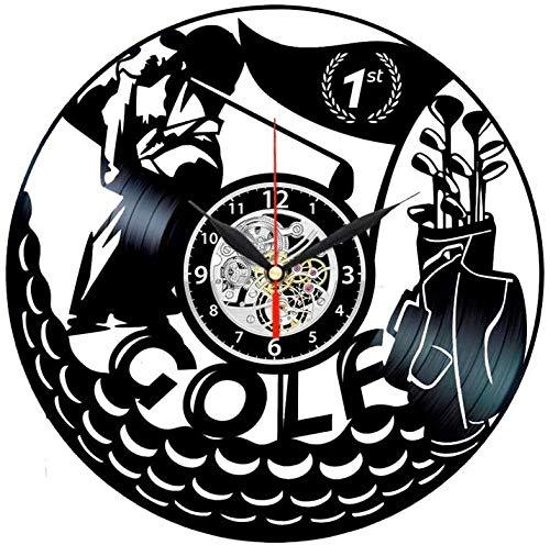 ZZNN Golf Squash Reloj de Pared de Vinilo con Tema de Golf para Hombre Novedades de Golf
