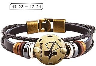 Axgo Retro 12 Zodiac Constellation Alloy Leather Hand Woven Braided Rope Bracelet Punk Chain Cuff, Sagittarius