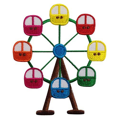 Parches bordados para planchar con diseño de ferris Wheel Fun Festival, color amarillo