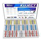 Kuject 160PCS Solder Seal Wire Connectors Kit, Waterproof Solderless Heat Shrink Butt Terminal Insulated Electrical Butt Splice for Automotive Marine Boat Wire Joint