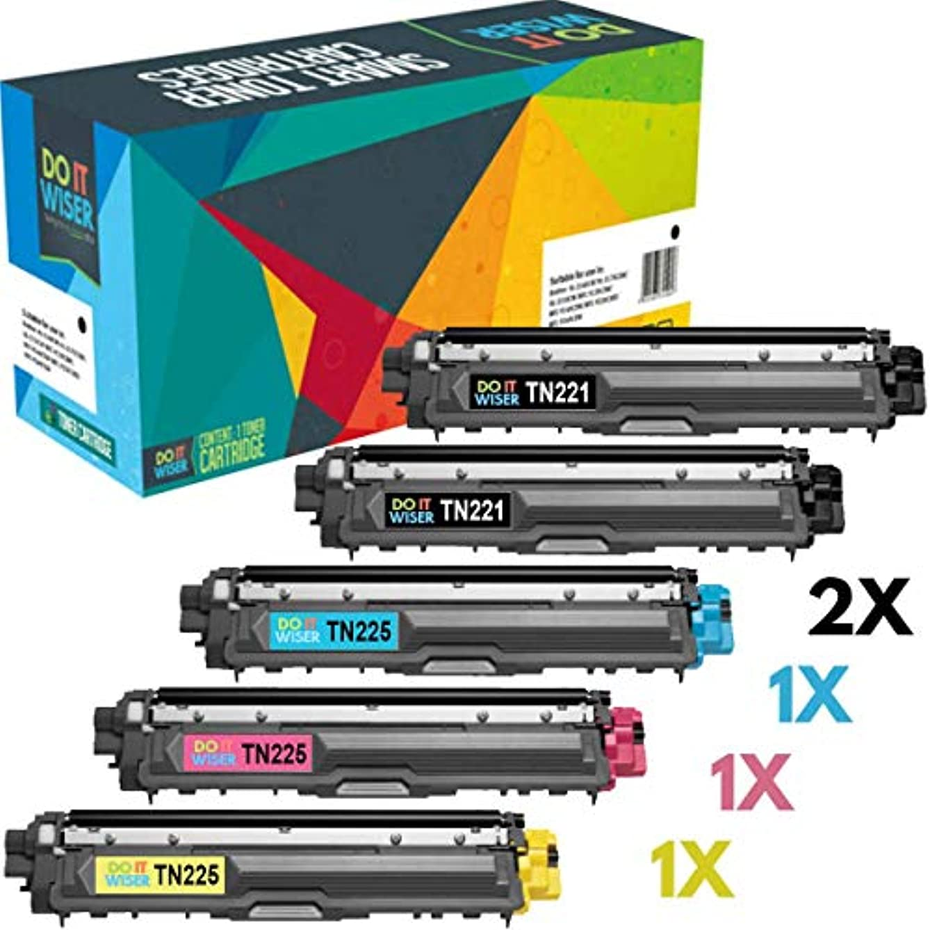 Do it Wiser Compatible Toner Cartridge Replacement for Brother TN221 TN225 to use with Brother HL-3170CDW MFC-9340CDW MFC-9130CW MFC-9330CDW HL-3140CW HL-3180 (2 Black, Cyan, Magenta,Yellow) 5-Pack
