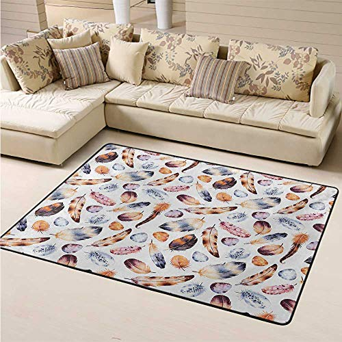 Large Carpet Area Rug Pads Peacock Floor Mat Non Slip Hawk Peacock Tail Eagle Hummingbird Feathers in Vintage Wildlife Themed Image Christmas Thanksgiving Holiday Decor Rug Orange Blue (5'7'x8'6')