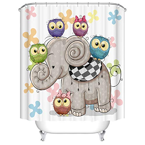 Dodou Cartoon Tier Duschvorhang Art Badezimmer Decor Cute Eule and Elephant Design Polyester Wasserdicht Stoff Bad Zubehör mit Haken 72''Wx72''H weiß