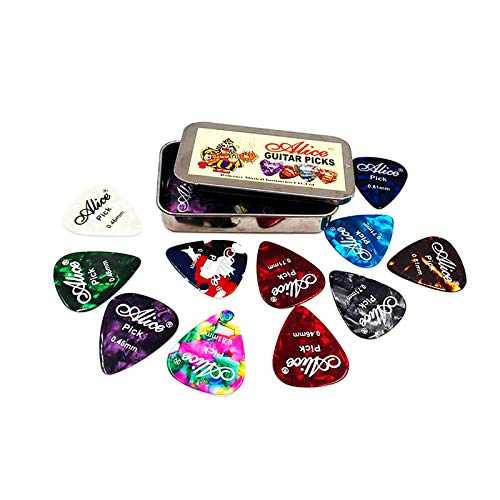 sgoseye Pick Guitar Pick Set - Cool Custom Guitar Picks (Plectrums) for Your Electric, Acoustic, or Bass Guitar - Presented in a Luxury Metal Pocket Box for Guitar Player (24 rectangular tin boxes)