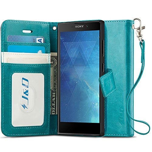 J&D Case Compatible for Xperia L2 Case, Wallet Stand Slim Fit Heavy Duty Protective Shock Resistant Flip Cover Wallet Case for Sony Xperia L2 Wallet, Not for Sony Xperia L1, Aqua