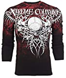 Affliction Xtreme Couture Mens Long Sleeve Thermal Shirt Bare Bones Skull (XXX-Large) Black