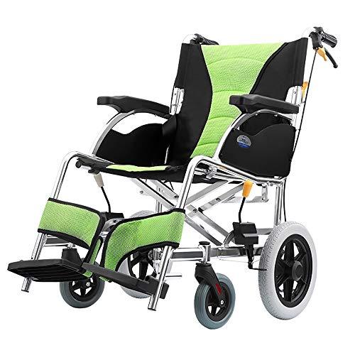 YHANX Rolstoel Comfortabel Licht Transport Vouwen Draagbare Reisstoel Dikke Aluminium Ouderen Gehandicapten Kruiwagen Rolstoel Groen