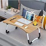 Json LED Laptop Mesa portátil Mesa Neetto Ajustable Mesa de Cama para Portátil (60 * 40 Madera + Ranura de...
