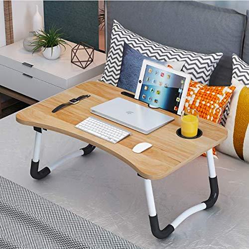 Json LED Laptop Mesa portátil Mesa Neetto Ajustable Mesa de Cama para Portátil (60 * 40 Madera + Ranura de la Taza)