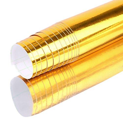 Vinilo adhesivo cromado dorado sin burbujas, autoadhesivo, 152 x 60 cm
