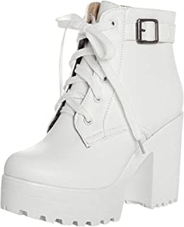 Best white boots chunky heel Reviews