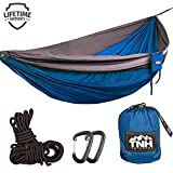 TNH Outdoors Rakaia Designs Double & Single Camping Hammocks - Lightweight Nylon Portable Hammock, Best Parachute Hammock for Backpacking, Camping, Hiking, Beach with Free Heavy Duty Carabiner Clips