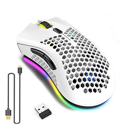 WREWING Leichtesgewicht Spielmaus, Design des Honignests Rechargeable Wireless Game Maus mit USB-Empfänger, RGB Hintergrundbeleuchtung Computer-Maus für Laptop PC geeignet (White)…