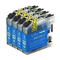 LC111C ブラザー互換インクカートリッジ brother LC111シリーズ シアン×4セット ベンチャートナー