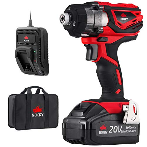 NoCry 20V Cordless Impact Driver Kit - 160 N.m Torque, 3000 Max RPM/IPM, 1/4 inch (6.35mm) Hex Chuck, LED Work Light, Belt Clip; 3.0 Ah Battery, Fast Charger & Carrying Case Included