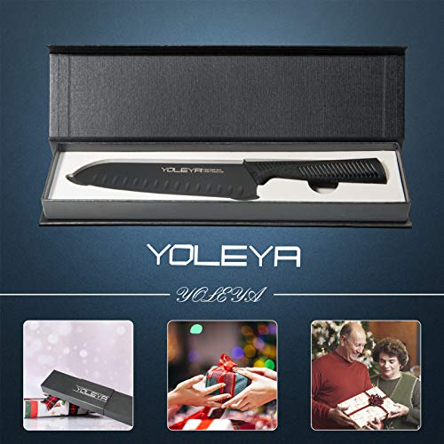 Santoku Knife-YOLEYA 7 Inch Kitchen Knife,Sharp Chef's Knife Forged From German Carbon Stainless Steel,Anti-rust Cooking Chopping Knives,Best Gift for Chefs with Ergonomic Handle