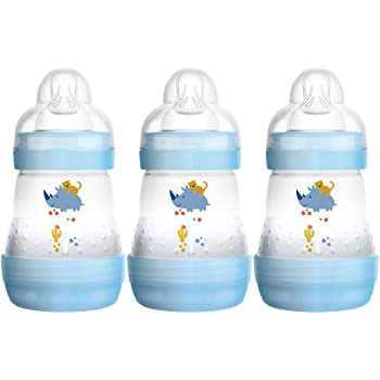MAM Easy Start Self Sterilising Anti-Colic Bottle Pack of 3 (3x160ml), MAM Bottles with Slow Flow MAM Teats, Newborn Essentials, Blue (Designs May Vary)