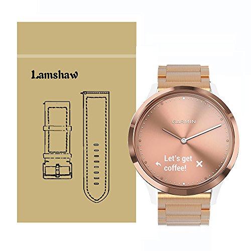 For Garmin Vivomove HR Band, Lamshaw Stainless Steel Metal Replacement Straps for Garmin Vivomove HR / Garmin Vivoactive 3 Band (Rose Gold)