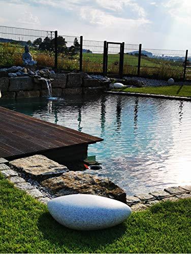 Trango IP65 Ovalstein Gartenleuchte in Granit-Optik TG6040G inkl. 2x E27 Fassung besten für LED Leuchtmittel geeignet inkl. 5m Outdoorkabel Kugelleuchte Gartendekoration Weglampe Abmessung 60x40x18cm