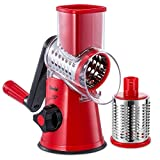 Geedel Rotary Cheese Grater, Kitchen Mandoline Grater with 2 Drum Blades, Easy to Clean Rotary...