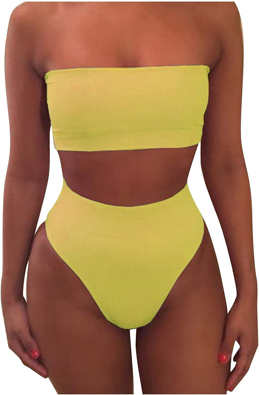 Women Removable Excellence Wrap Inexpensive Pad Bandeau Bikini Set High Color Solid Wai