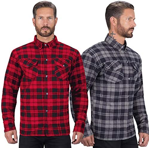 Viking Cycle Motorcycle Flannel Shirt for Biker Men CE Armor Protection with Multiple Pockets product image