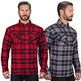 Viking Cycle Motorcycle Flannel Shirt for Biker Men - CE Armor Protection with Multiple Pockets for Storage (Red, X-Large)
