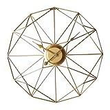 WEERUN Reloj de pared de 50 cm, vintage, retro, sin ruido de tictac, reloj de pared de metal, silencioso, grande, dorado, XXL para salón, dormitorio, cocina u oficina