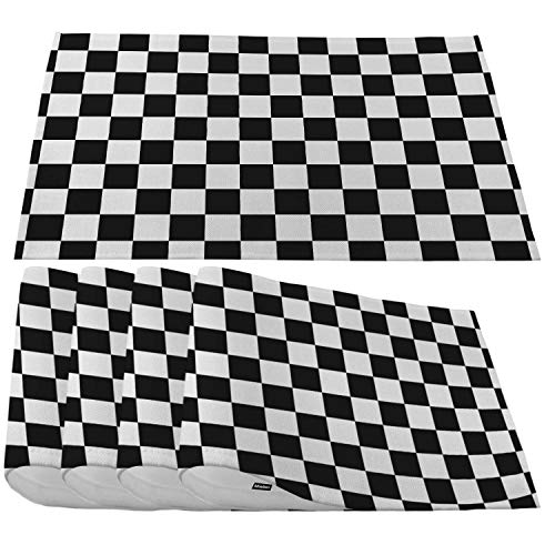 Moslion Black White Checkerboard Placemats,Chess Board Racing and Checkered Place Mats for Dining Table/Kitchen Table,Waterproof Non-Slip Heat-Resistant Washable Outdoor Dinner Table Mats,Set of 4
