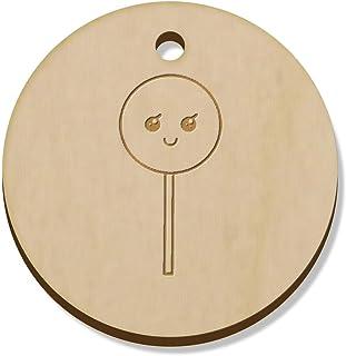 11 x 34mm 'Happy Lollipop' Wooden Pendants / Charms (PN00045051)