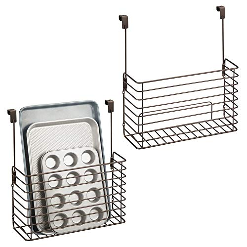 mDesign Metal Over Cabinet Kitchen Storage Organizer Holder or Basket - Hang Over Cabinet Doors in Kitchen/Pantry - Holds Bakeware, Cookbook, Cleaning Supplies - 2 Pack - Bronze