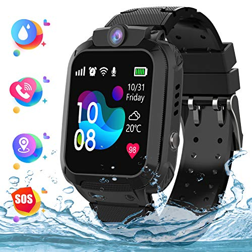 Kindersmartwatch waterdicht, LBS tracker touchscreen Kid Smart Watch Phone voor jongens en meisjes met SOS Game-camera telefoon Voice Chat